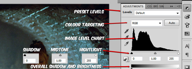 Adjustment Layers Levels Layout